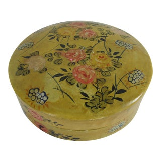Vintage Hand-Painted Paper Mache Round Lidded Trinket Box For Sale