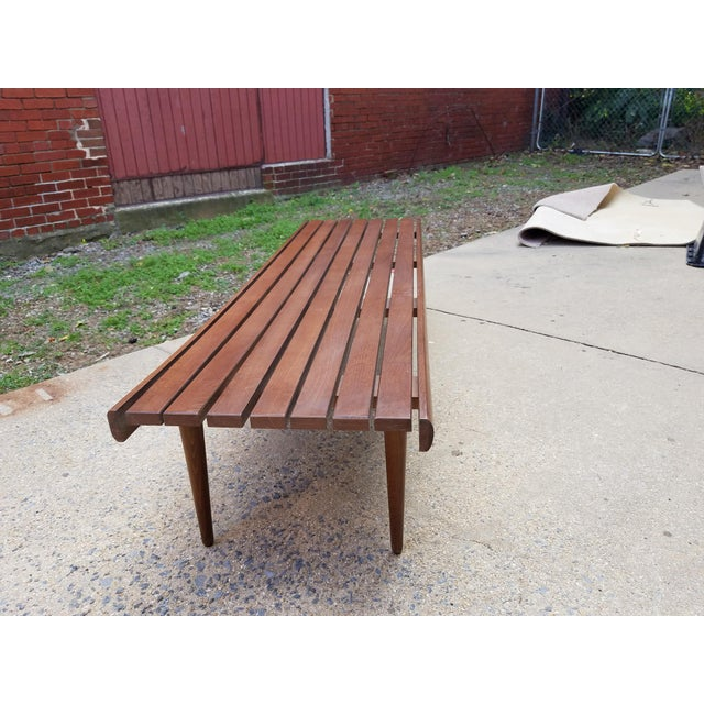 Mid-Century Slat Bench Coffee Table - Image 4 of 7