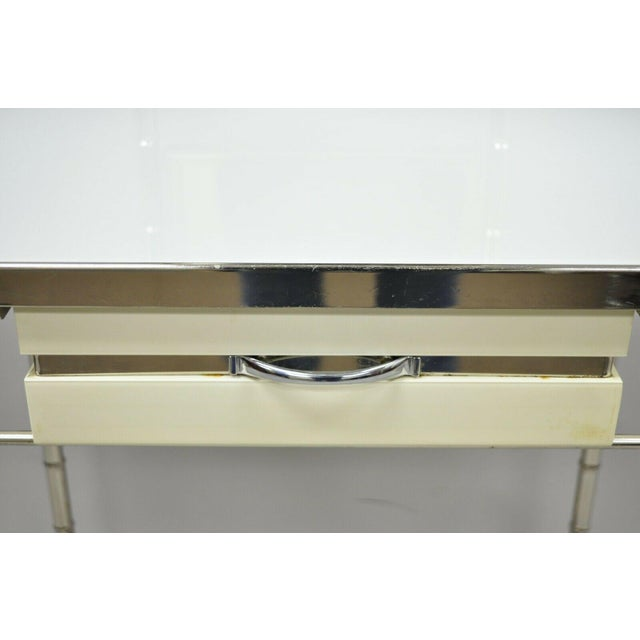 Metal Mid 20th Century Hollywood Regency Faux Bamboo Metal Vanity With Chair-a Pair For Sale - Image 7 of 13