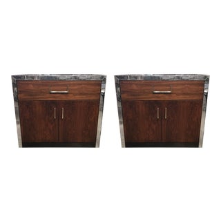 Late 19th Century Lacquered and Walnut Nightstands- A Pair For Sale