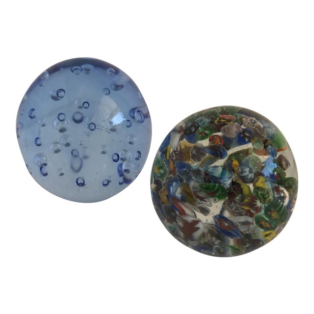 Bubble Glass Vintage Paperweights - A Pair For Sale