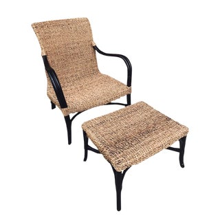 1990s Vintage Bamboo Rattan Lounger With Ottoman For Sale