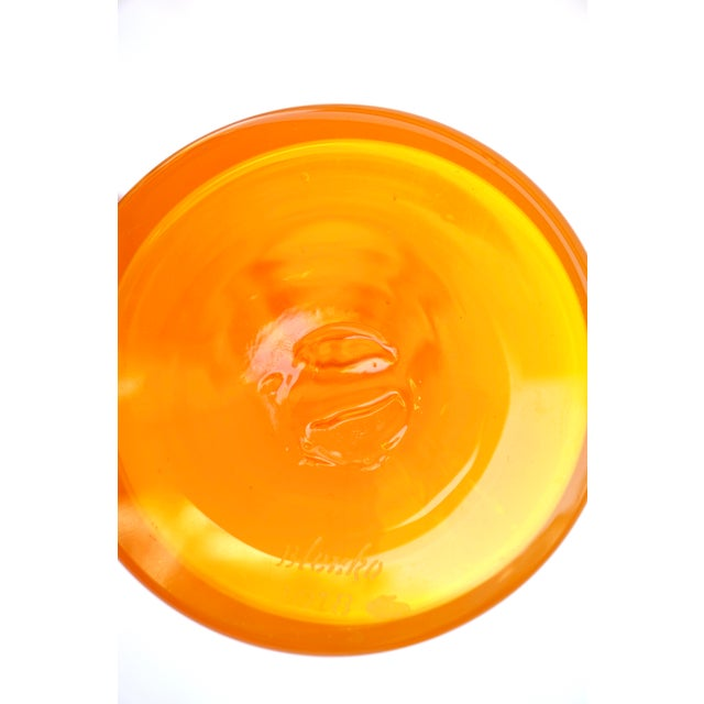 2000 - 2009 Blenko|• Wayne Husted Jonquil Tangerine Blown Art Glass Spool Decanter | Mid-Century Modern Collectible Glass Bottle For Sale - Image 5 of 12