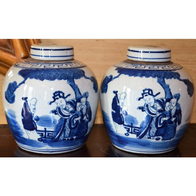 Chinoiserie Ginger Jars With Deities - A Pair For Sale In Houston - Image 6 of 10