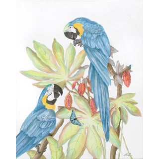 """Forever and a Day"" Parrot Bird Macaw Painting in the Chinoiserie Style by Allison Cosmos For Sale"