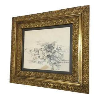 "Vintage ""Wild Dogs"" Framed Original Drawing by S Massey For Sale"