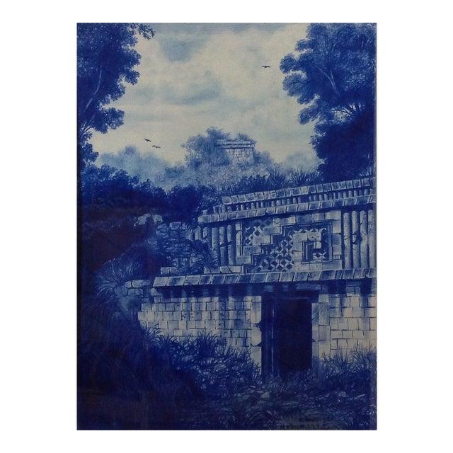 Framed Illustration Of Mayan Ruins For Sale