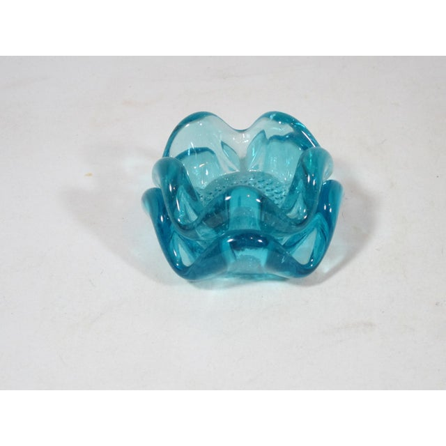 1960s Mid-Century Modern Blue Glass Nut Dishes - a Pair For Sale - Image 5 of 7