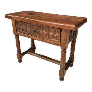 19th Century Spanish Baroque Carved Walnut Antique Bench or Diminutive Console Table / Side Table For Sale