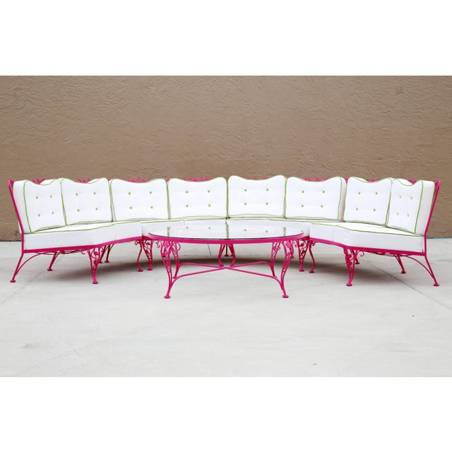 Woodard Chantilly Rose Professionally Restored 4-Piece Sectional and Cocktail Table - Image 4 of 13