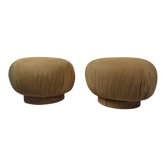"""Karl Springer Style """"souffle"""" Poufs - a Pair - Image 1 of 6"""