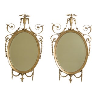 Friedman Brothers Gold Framed Adams Style Mirrors - a Pair For Sale