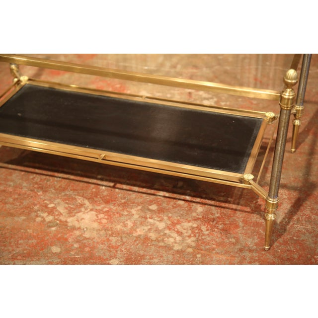 Mid-20th Century French Brass Steel and Leather Coffee Table from Maison Jansen - Image 4 of 9