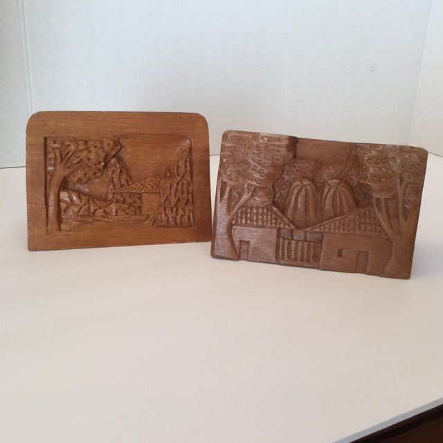 Country Hand Carved Wood Carvings - A Pair For Sale - Image 3 of 11