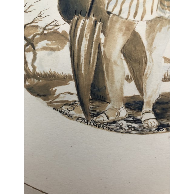 Watercolor Two Ladies Posing the Beach, Watercolor by William Palmer, 1940 For Sale - Image 7 of 8