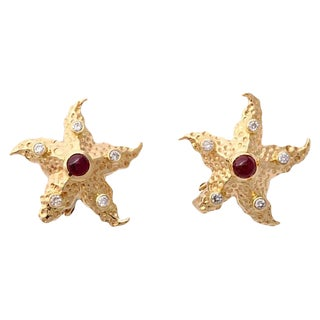 Ruby, Diamond & Gold Starfish Earrings For Sale