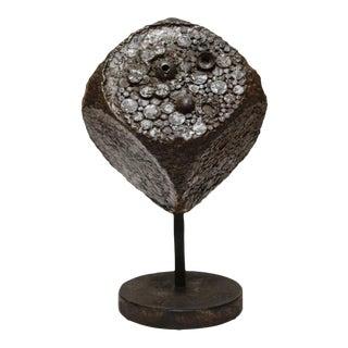 Brutalist Cube Sculpture in Bronze For Sale
