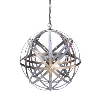 Industrial Brushed Chrome Orb Chandelier For Sale