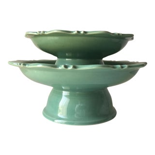 2 Tozai Celadon Cake Stands For Sale