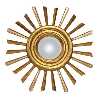 Mid-Century Italian Sunburst Convex Mirror For Sale