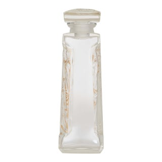 French Art Deco Tall Four-sided Clear Glass Perfume Bottle For Sale