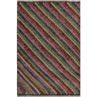 1990s Southwestern Balouchi Alex Blue/Pink Wool Rug - 3'4 X 4'11 For Sale