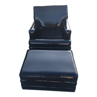 Edward Wormley for Dunbar Patent Leather Lounge Chair & Ottoman For Sale
