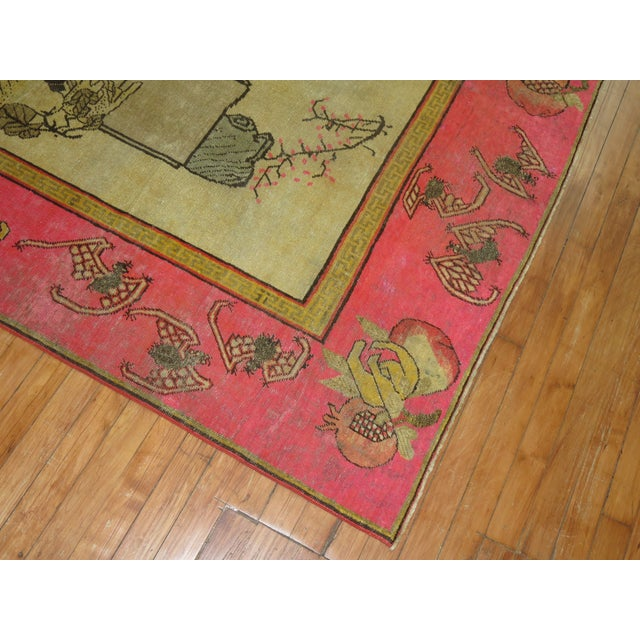 Bright Pink Boho Chic 19th Century Khotan Rug, 4'6'' x 6'10'' For Sale - Image 9 of 9