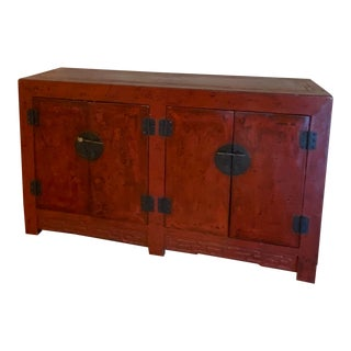 Oriental Red Lacquered Buffet For Sale