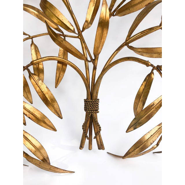 Hollywood Regency Vintage Italian Gilded Tole Leaves Wall Sculpture For Sale - Image 3 of 9