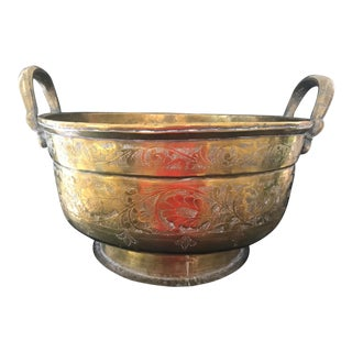 Large Heavy Vintage Brass Bucket Jardinere With Handle For Sale