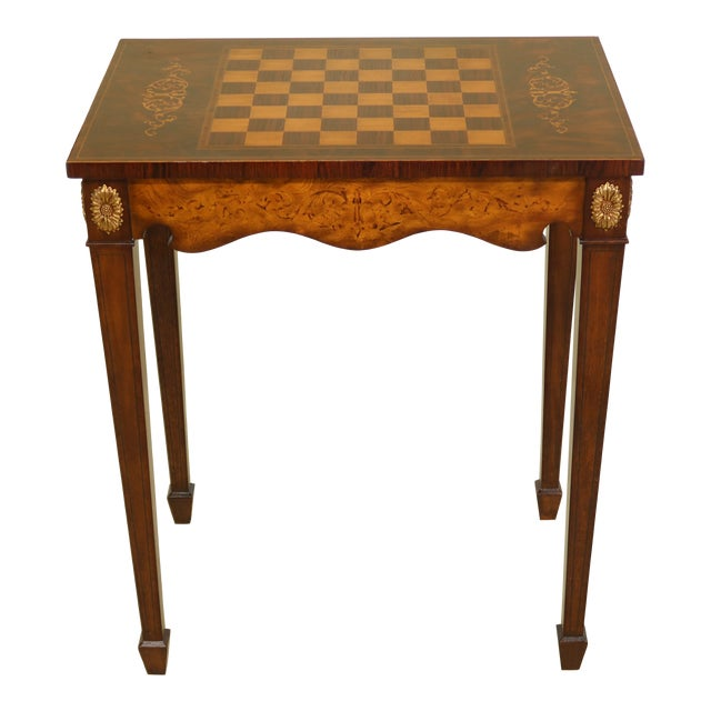 Maitland Smith Inlaid Walnut Games Table Top Occasional Table For Sale