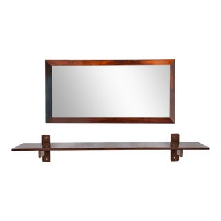 Sergio Rodrigues Wall Console and Mirror in Jacarand - a Pair For Sale