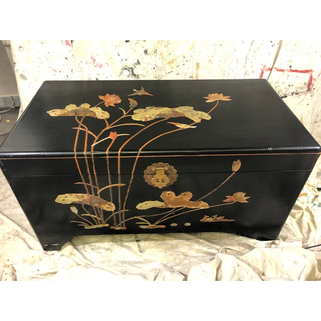 Shabby Chic 1950s George Zee Art Carved Chest With Stone Inlay For Sale - Image 3 of 11