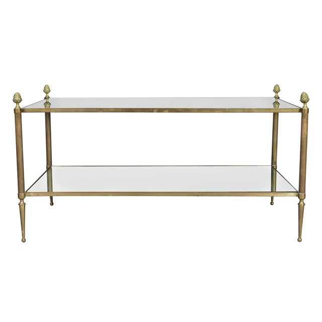 Glass Jansen Style Brass and Mirrored Coffee Table For Sale - Image 7 of 9
