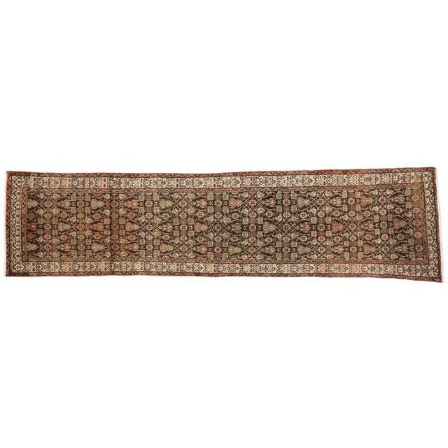 Brown Antique Persian Malayer Carpet Runner with Traditional Modern Style For Sale - Image 8 of 9