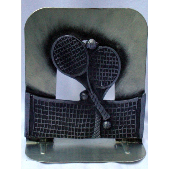 Vintage Silver Metal Tennis Bookends - Image 3 of 9