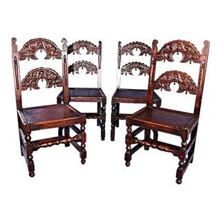 1900's Antique Kensington Furniture Oak Dining Chairs- Set of 4 For Sale