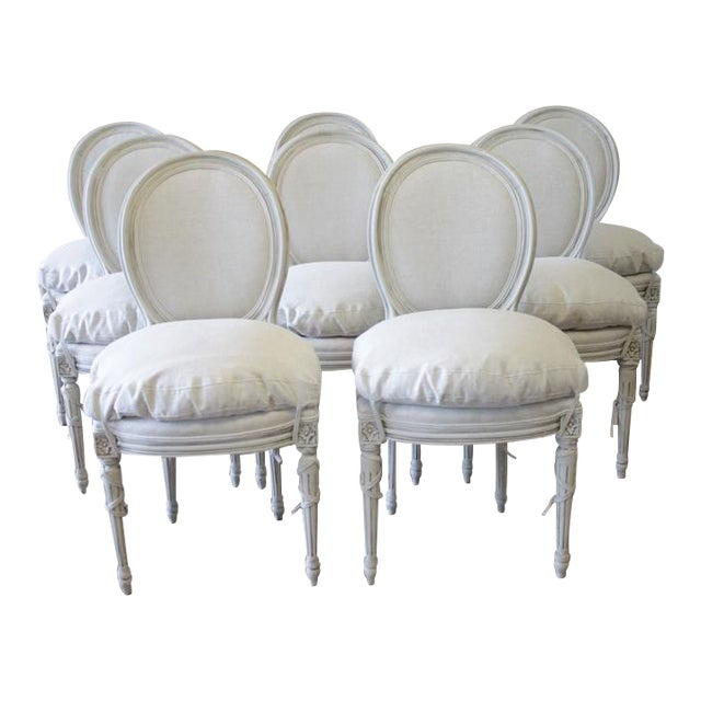 20th Century Painted and Upholstered Louis XVI Dining Chairs - Set of 8 - Image 1 of 5