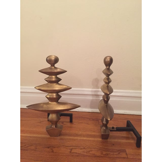 Geometric Fireplace Andirons - A Pair - Image 3 of 4