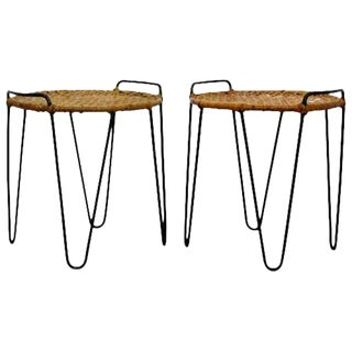 Mid Century Modern Pair Hairpin Iron Cane Stools Side Tables by Tony Paul 1950s For Sale