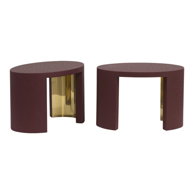The Oval Crackle Side Tables by Talisman Bespoke (Burgundy and Gold) For Sale