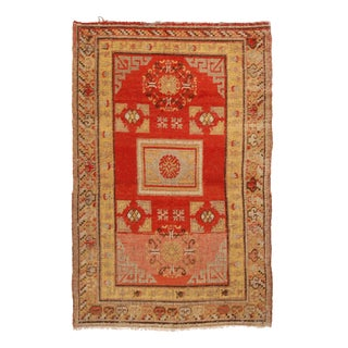 1920s Transitional Khotan Red and Golden Beige Wool Rug For Sale