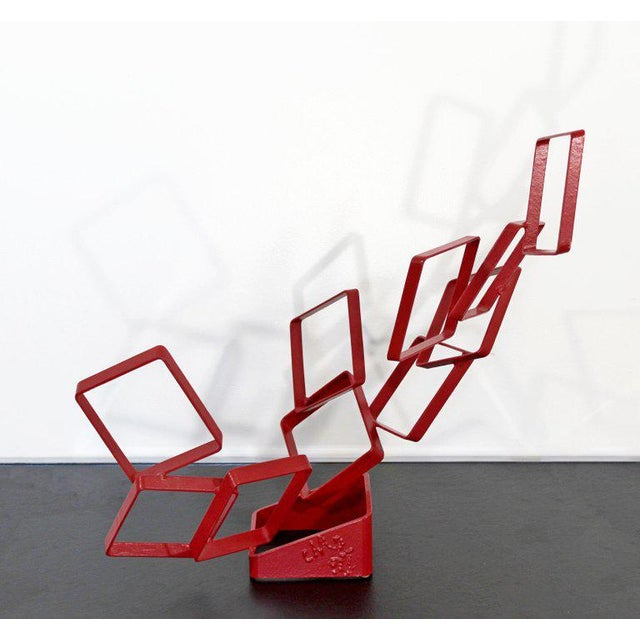 1990s Contemporary Red Metal Abstract Table Sculpture Signed Cynthia McKean For Sale - Image 10 of 12