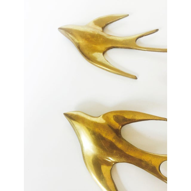 Set of 3 Vintage Brass Swallow Bird Wall Hangings - Image 4 of 6