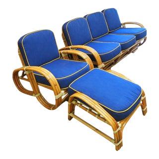 "1950s Restored Rare ""Reverse Pretzel"" Rattan Living Room Set - 3 Pieces For Sale"