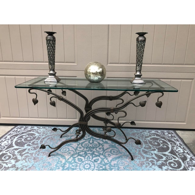 1990s Arts and Crafts Glass Top Iron Console Table For Sale - Image 5 of 9