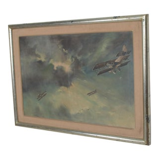Mid Century Modern Art Painting Vintage Airplane Art, Oil on Canvas For Sale