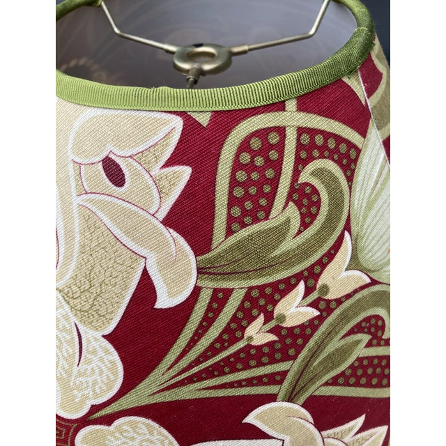 """A lampshade made from a 19th century French printed cotton. Measurements: top 5"""" bottom 14"""" side8"""""""