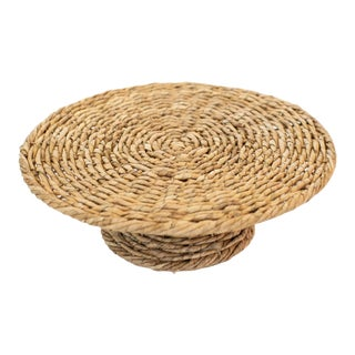 1960s Wicker Cake Stand For Sale